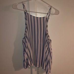 White and blue striped tank top blouse